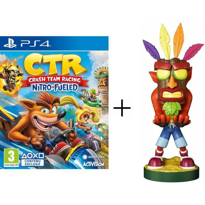 Pack Crash Bandicoot : Figurine support manette Cable Guy Crash Bandicoot Aku Aku + Crash Team Racing Nitro Fueled Jeu PS4
