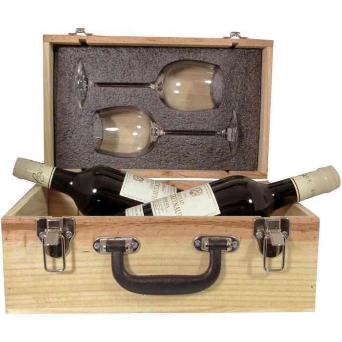 Valise Duo 2 verres + Bordeaux Château Haut Reynaud 2 x 75 cl