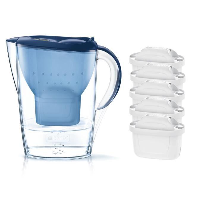 Pack BRITA Carafe filtrante MARELLA Bleu + 5 Cartouches de rechange