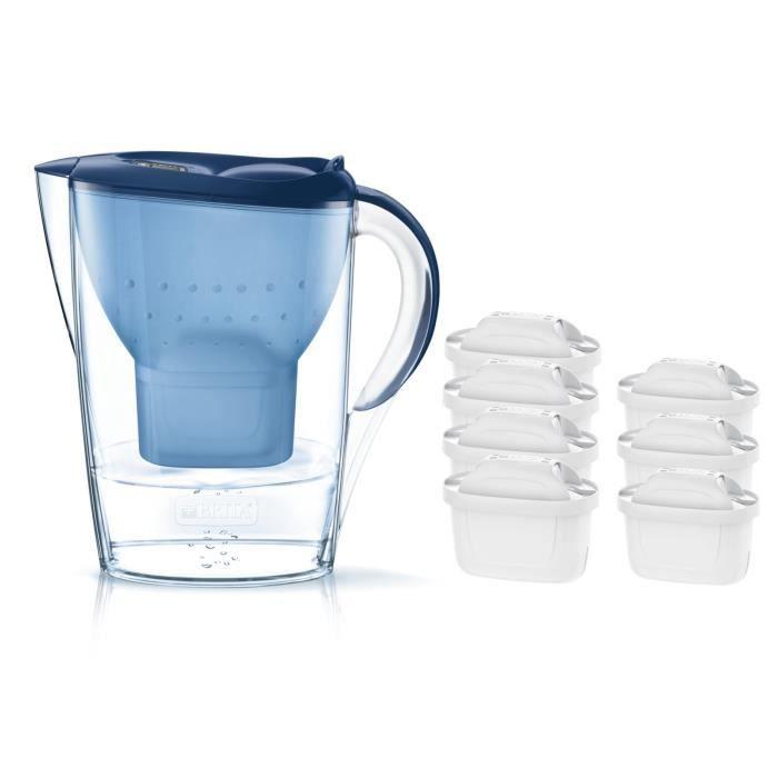 Pack BRITA Carafe filtrante MARELLA Bleu + 7 Cartouches de rechange