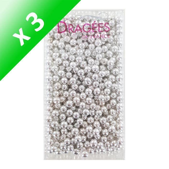 [LOT DE 3] DRAGEES DE FRANCE Perles de sucre - Argentées N° 6 - 250 g