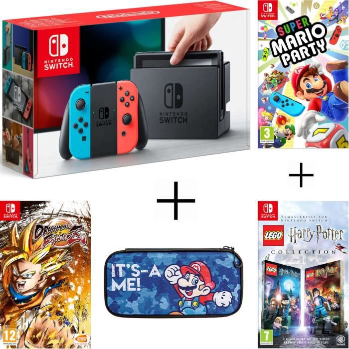 Pack nintendo switch néon dragon ball fighterz code in a box lego harry potter housse super mario party