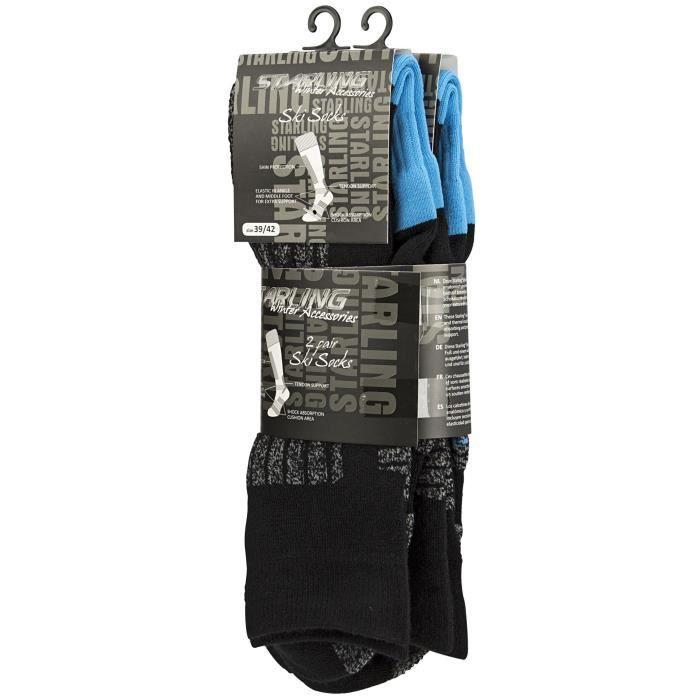 STARLING Lot de 2 Chaussettes de Ski 245 - Enfant garçon - Noir et Bleu