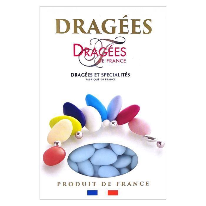 DRAGEES DE FRANCE Dragées Avola Trèfles - Bleu - 28% d'amande - 1 kg