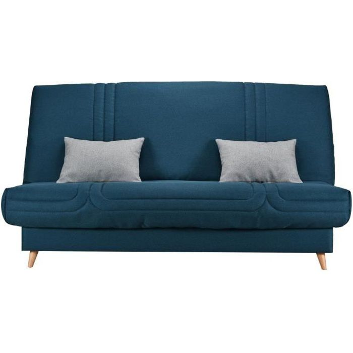 Clic clac 3 places matelas Bultex - Tissu Bleu - L 192 x P 95 x H 101 - MONA