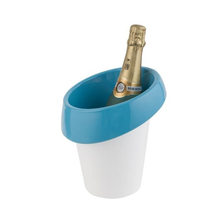 Seau à glace Icewave - ABS laqué - Blanc / Bleu - Pour 1 bouteille