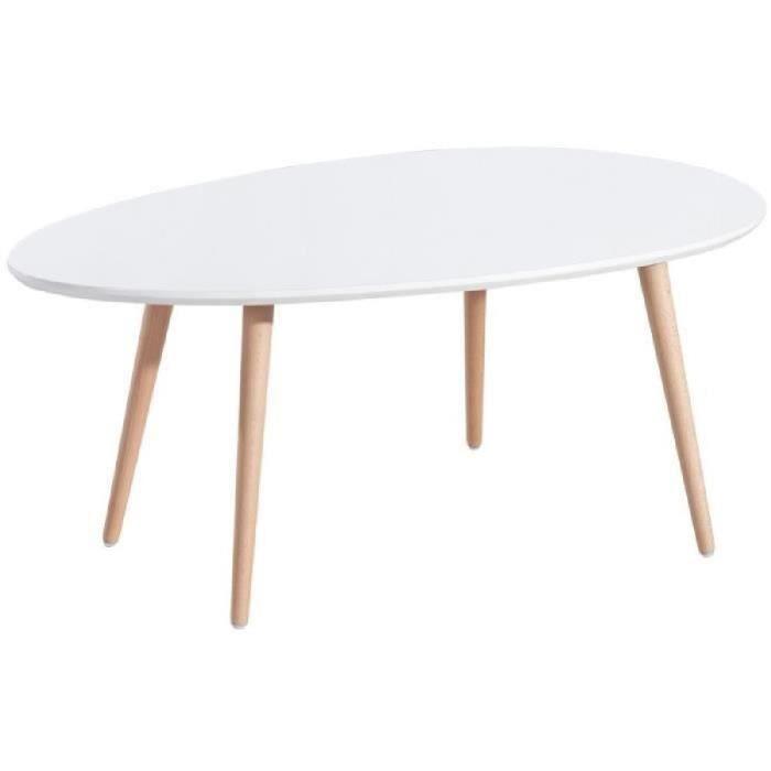 STONE Lot de 2 tables basses - Blanc et gris laqué