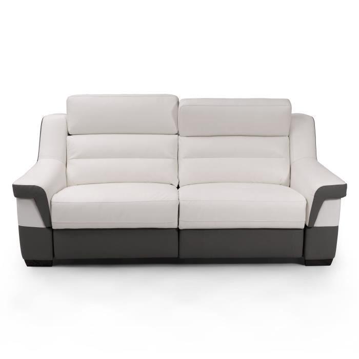 UNICADESIGN - Canapé Cuir 3 places avec 2 places relax électriques PANAREA - Blanc et gris - Made in Italy - L 202 x P 95 x H 97 cm