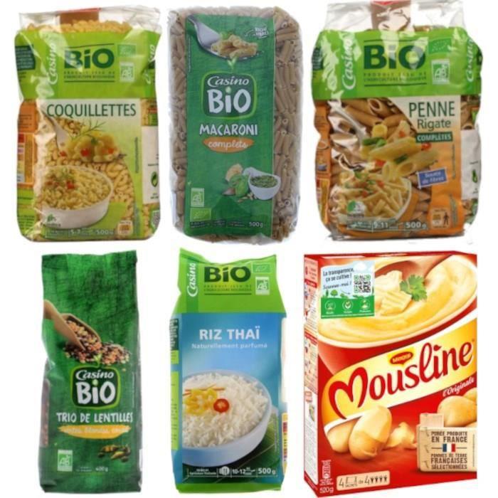 Casino - Assortiment de 6 féculents BIO : Riz, pâtes et lentilles