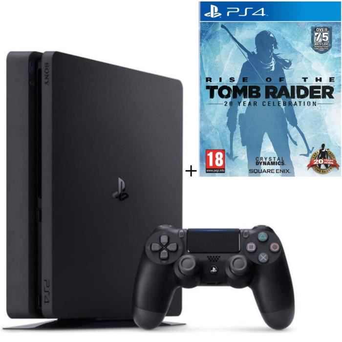 Pack Nouvelle PS4 Slim 500 Go + Qui-es-tu ? (Jeu PlayLink à télécharger) + Rise Of The Tomb Raider 20 Year Celebration Jeu PS4