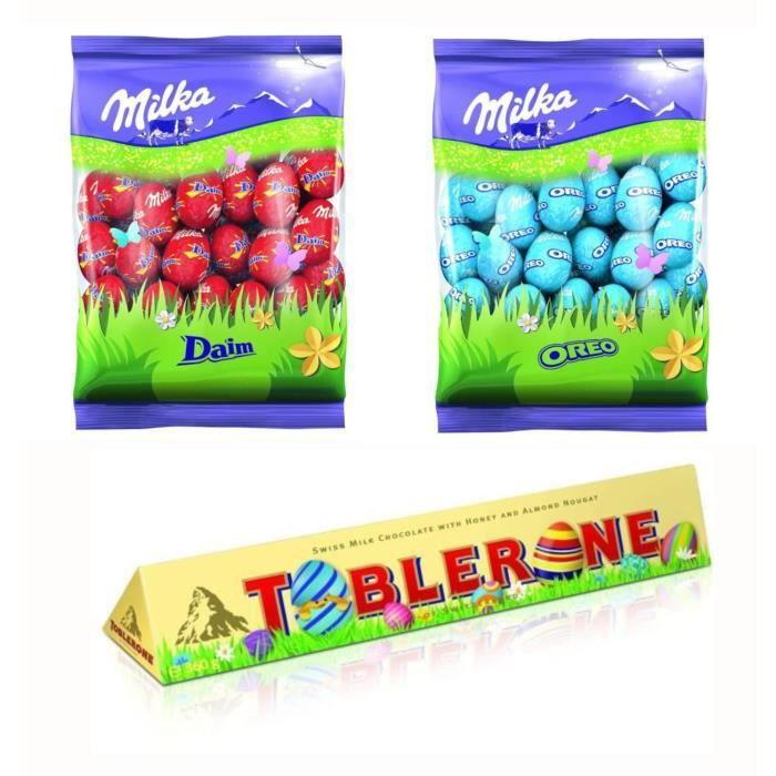 MILKA et TOBLERONE Chocolats de Pâques - Lot d'1 Barre de chocolat au Lait 360g et de 2 sachets Petit Œufs Oreo et Daim 350g