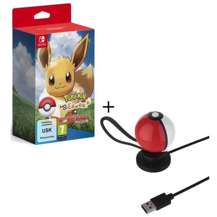 Pokémon : Let's Go, Evoli ! + Pokéball Plus sur Nintendo Switch + Stand de recharge USB pour Pokeball Switch