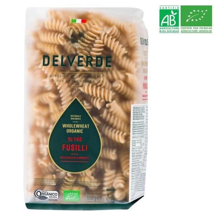 DELVERDE - Pâtes Fusilli Pasta à la semoule de blé dur complète - BIO - 500 G