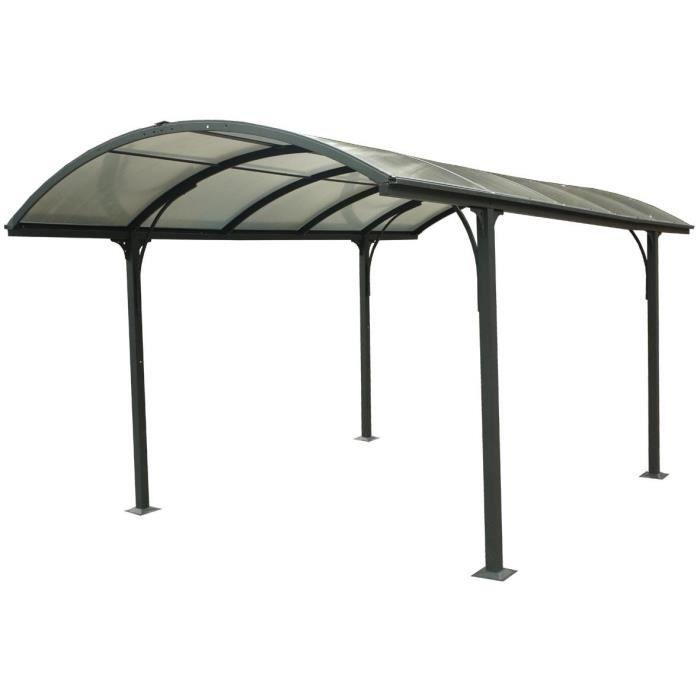 Carport en aluminium 14,62 m²- 301,5 x 485 cm - Gris anthracite