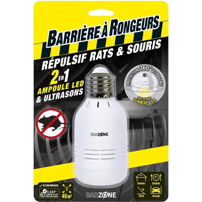 BARRIERE A RONGEURS Répulsif rats et souris ampoule LED & Ultrasons 2 en 1 - Blister de 1 ampoule