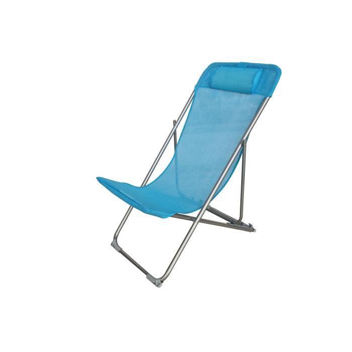 Fauteuil relax avec têtière - Structure en acier et textilène - 3 positions - 57 x 56 x 74 cm - Bleu