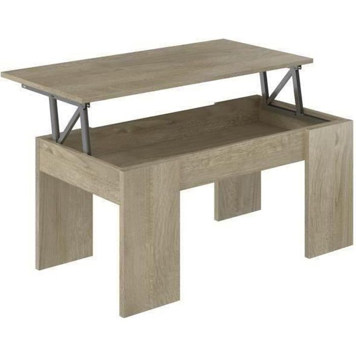 SWING Table basse relevable style contemporain décor chêne clair - L 100 x l 50 cm