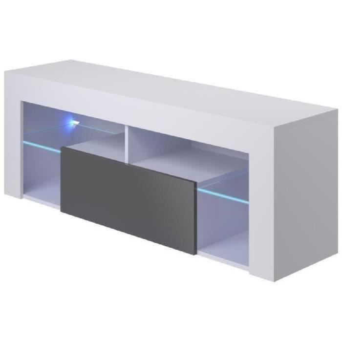 Hugo meuble tv led contemporain mélaminé blanc mat et gris brillant l 35 cm