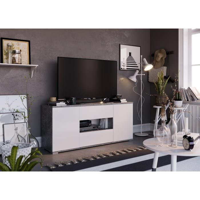 STAR Meuble TV 2 portes 2 tiroirs - Décor béton et blanc - L 150 x P 42 x H 67 cm