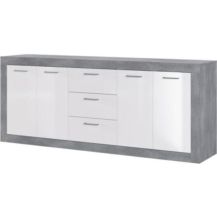 STONE Buffet 4 portes 3 tiroirs - Décor béton et blanc - L 206 x P 45 x H 83,4 cm