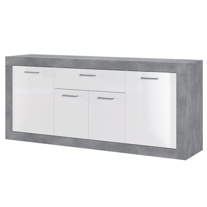 STONE Buffet 4 portes 1 tiroir - Décor béton et blanc - L 173 x P 41 x 75 cm