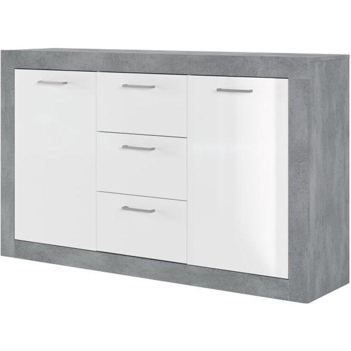 STONE Buffet 2 portes 3 tiroirs - Décor béton et blanc - L 147 x P 37 x H 89 cm