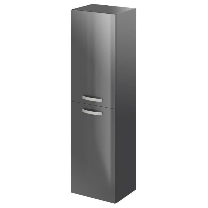 TERRA Colonne de salle de bain L 40 cm - Laqué gris brillant