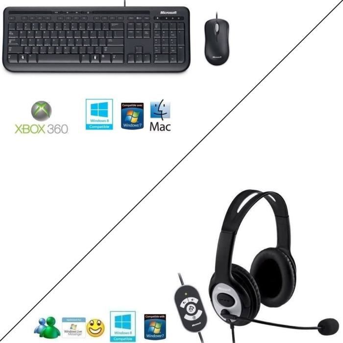 Pack Microsoft Wired Keyboard 600 Noir + souris + Casque LifeChat™ LX-3000