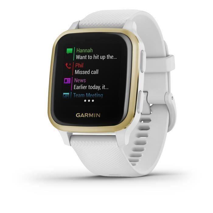 GARMIN Venu Sq - White/Light Gold - Montre GPS de sport connectée santé et bien-être