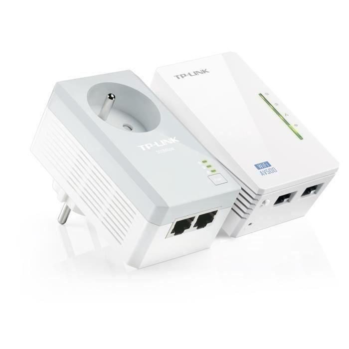 TP-Link TL-WPA4225 KIT kit de 2 CPL 600 Mbps Wi-Fi 300 Mbps avec 2 Ports Ethernet et Prise Intégrée -