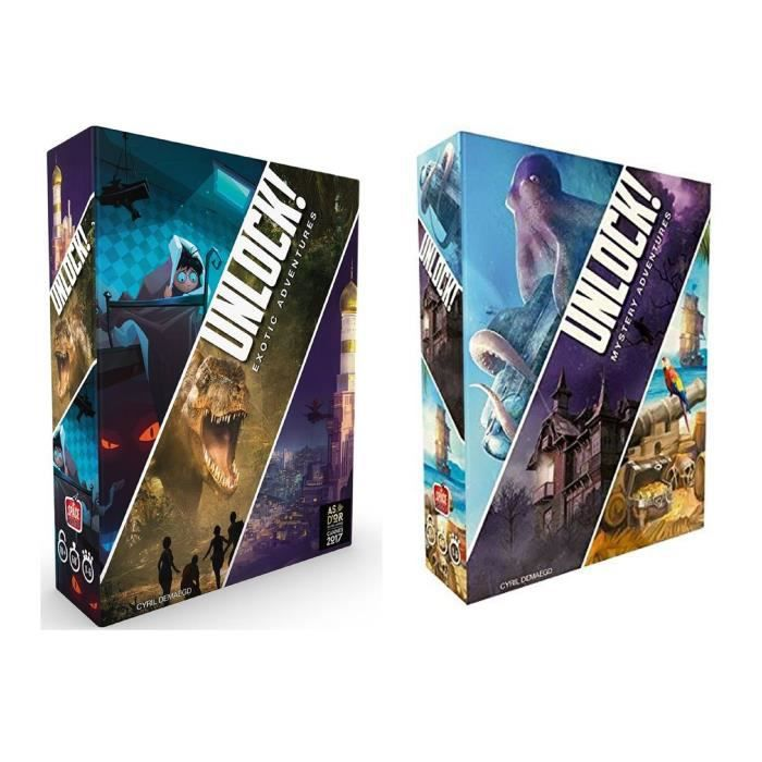 Méga Pack Unlock Exotic Adventures + Mystery Adventures - Jeux d'Escape Games - ASMODEE
