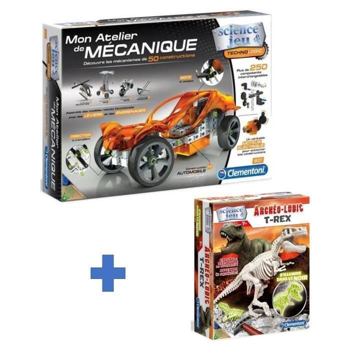 CLEMENTONI Méga Pack - Mon atelier mécanique Véhicules et Machines + Archéo Ludic T-Rex