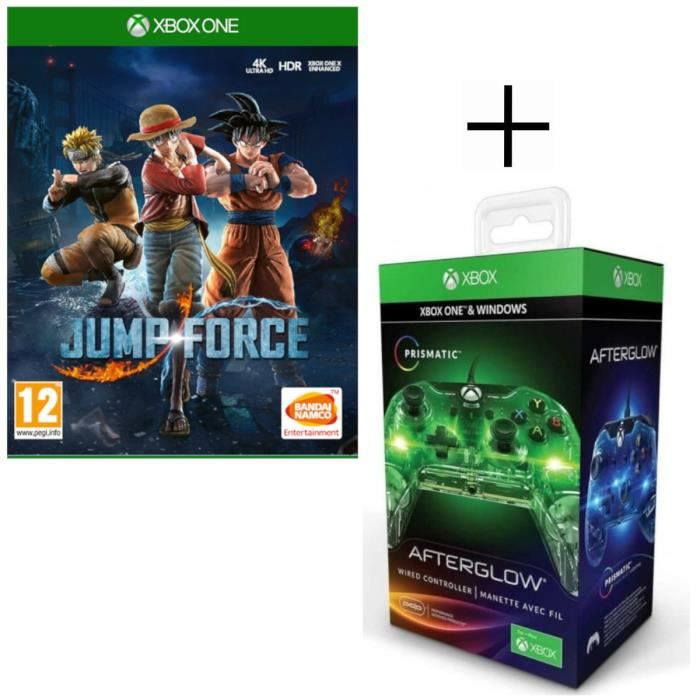 Jump Force Jeu Xbox One + Manette filaire PDP Afterglow Prismatic