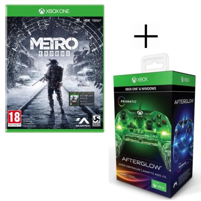 Metro Exodus Jeu Xbox One + Manette filaire PDP Afterglow Prismatic