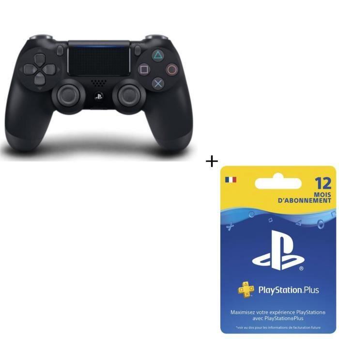 Manette DualShock 4 Noire V2 PS4 + Abonnement Playstation Plus 12 Mois