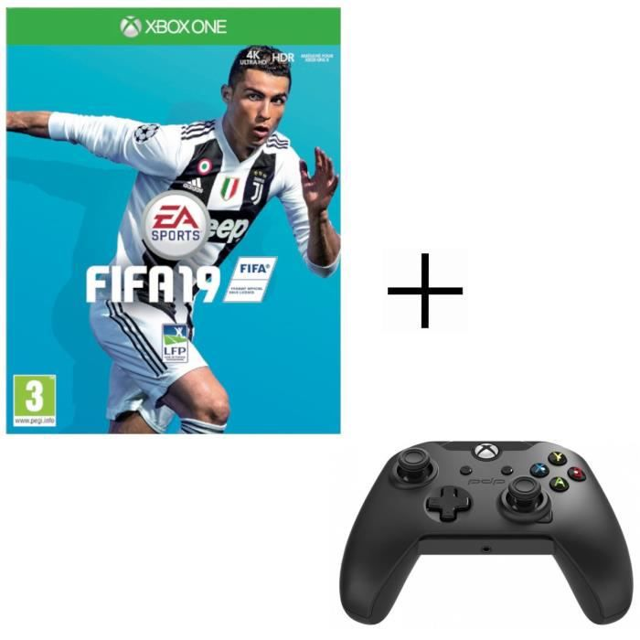 FIFA 19 Jeu Xbox One + Manette PDP Afterglow Noire Xbox One
