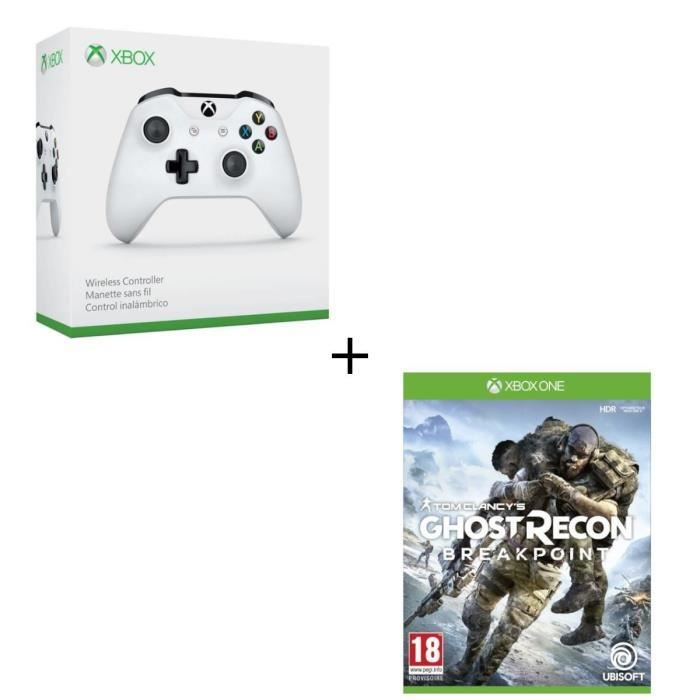 Manette sans fil Xbox One blanche compatible PC + Ghost Recon BREAKPOINT Jeu Xbox One