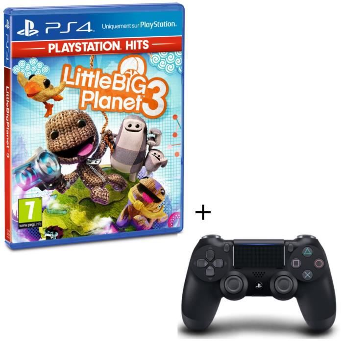 Pack Little Big Planet 3 PlayStation Hits + Manette PS4 DualShock 4 Noire V2