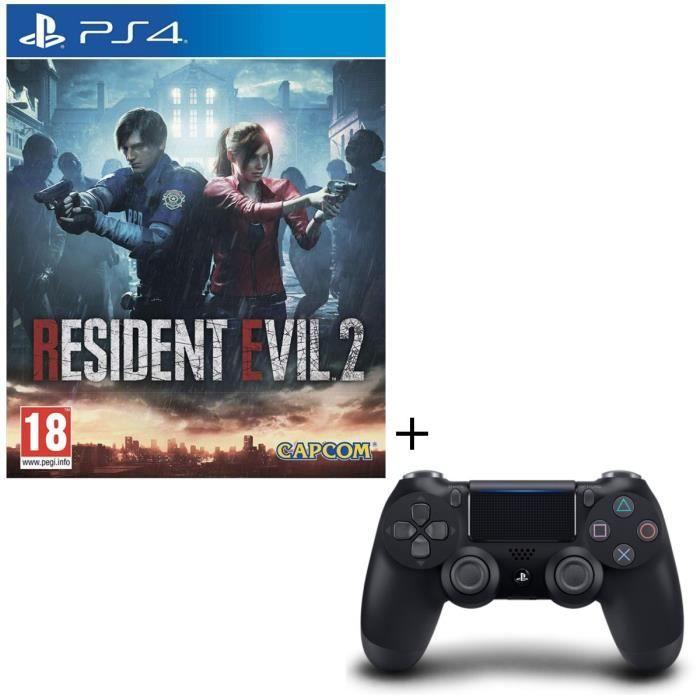 Pack Resident Evil 2 + Manette PS4 DualShock 4 Noire V2