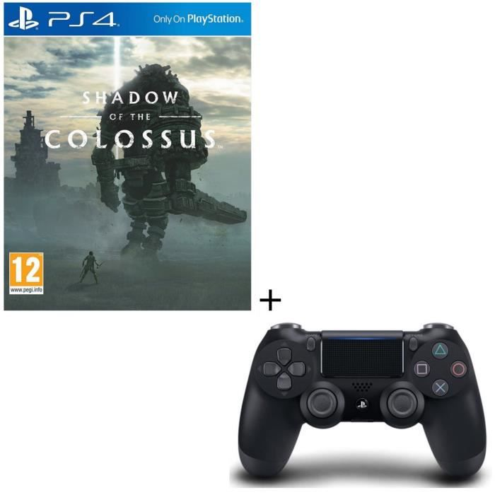 Pack Shadow of the Colossus Jeu PS4 + Manette PS4 DualShock 4 Noire V2