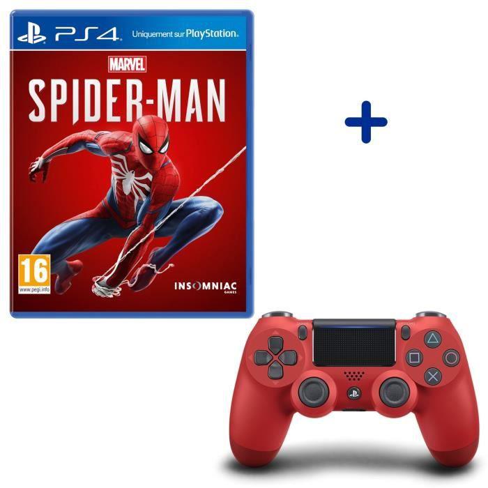 Pack Marvel's Spider-Man + Manette PS4 DualShock 4 Rouge V2