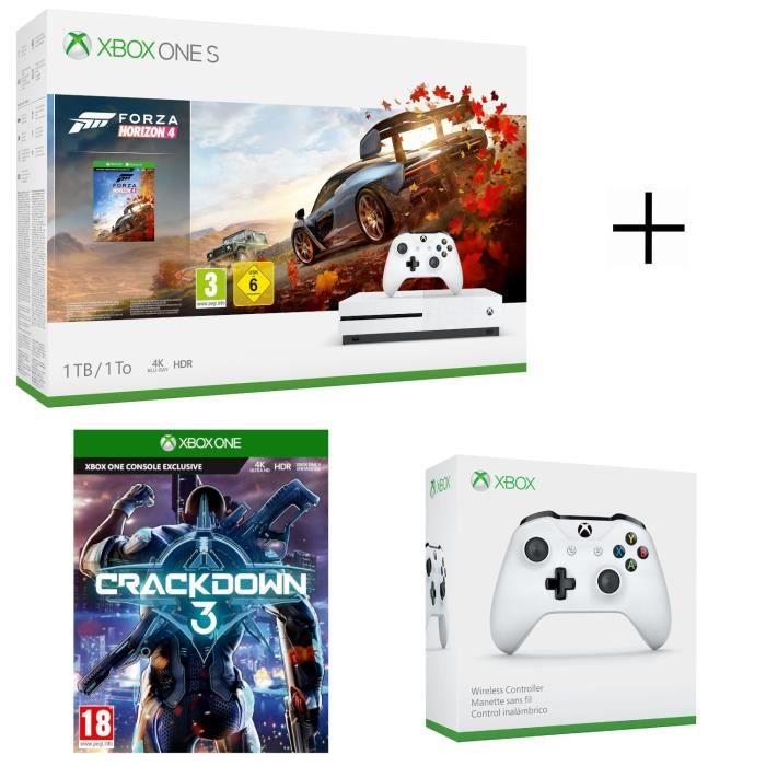 Console Xbox One S 1 To Forza Horizon 4 + CrackDown 3 Jeu Xbox One + Manette sans fil Xbox One Blanche compatible PC