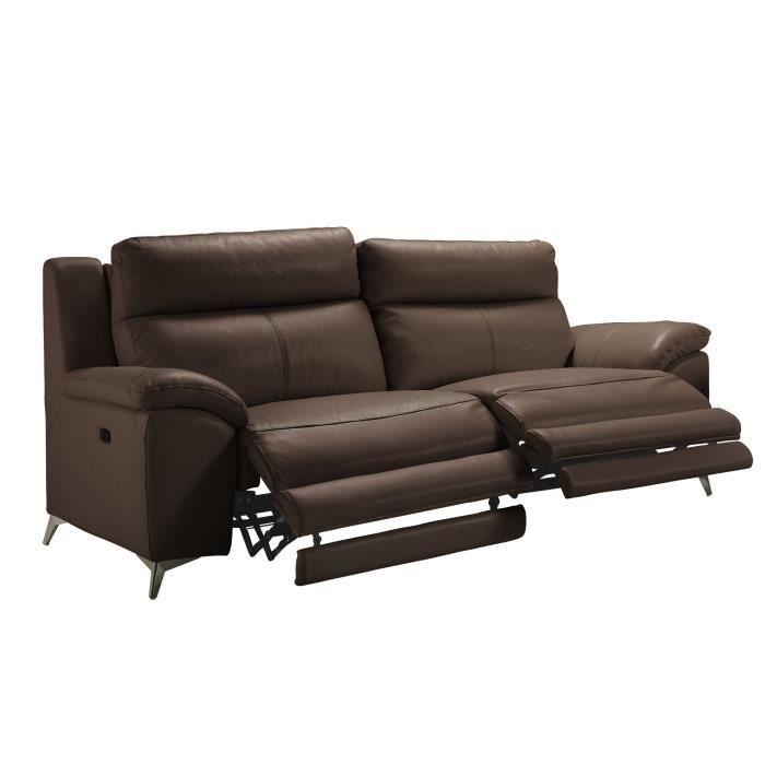Canapé Cuir 3 places 2 relax électrique + Tête électrique - Chocolat - L 217 x P 95 x H 97 cm - BEAUSOLEIL