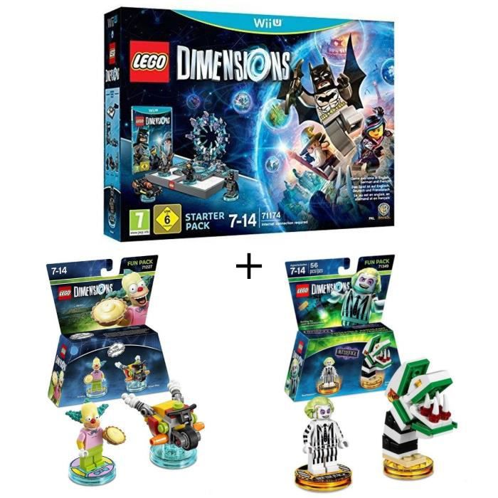 Pack LEGO: Starter Pack Wii U Lego Dimensions + 2 Figurines LEGO Dimensions: Les Simpsons Krusty le Clown + Beetlejuice