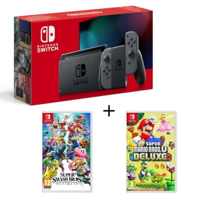 Pack nintendo switch grise new sup.mario bros u deluxe super smash bros ultimate