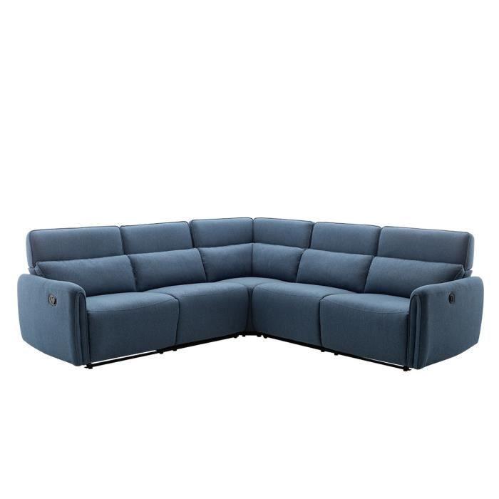 Canapé d'angle avec 2 places relax électrique et manuel - Tissu Bleu - L 269 x P 50 x H 99 cm - LANDON