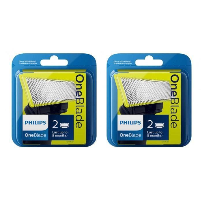 PHILIPS QP220/55 Lot de 2x2 Lames One blade -Vert / Noir