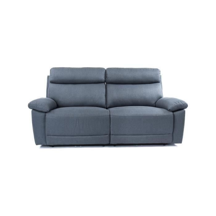 Canapé relax 3 places dont 2 électriques - Tissu gris - AZUR