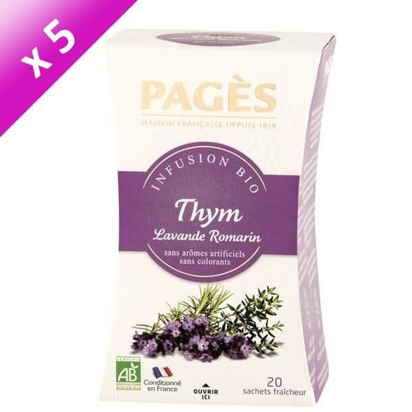 PAGES Lot de 5 Infusions Thym Lavande Romarin