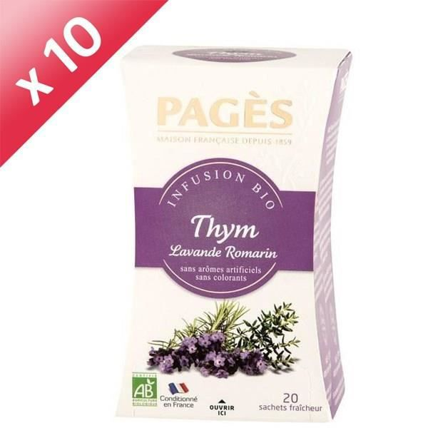 PAGES Lot de 10 Infusions Thym Lavande Romarin